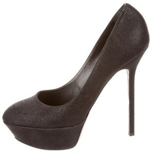 Sergio Rossi Black Embossed Platform Pumps 37.5